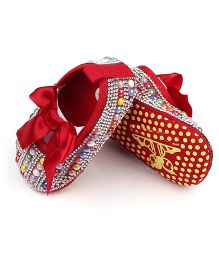 Alle Alle Pearl Embellished And Applique Booties Shoes - Red