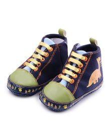 Alle Alle  Cute Dinosaur Print Canvas Booties - Blue