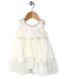 Adores Sleeveless Dress Floral Applique - White