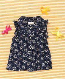 TBB Collar Neck Floral Print Dress - Navy Blue