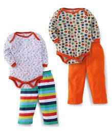 Kidi Wav Full Sleeves Animal Print 2 Bodysuit & 2 Pyjama Set - Orange