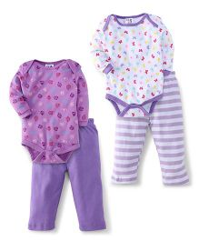 Kidi Wav Full Sleeves Butter Fly And Owl Design 2 Bodysuit & 2 Pyjama Sets - Lavender