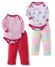 Kidi Wav Full Sleeves Palace Prints And Heart Prints 2 Bodysuit & 2 Pyjama Sets - Pink