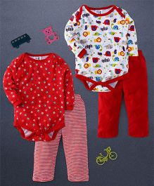 Kidi Wav Foot Print Body Suit And Animal Prints Full Sleeves 2 Bodysuit & 2 Pyjama Sets - Red