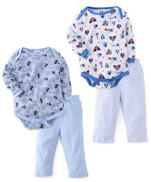 Kidi Wav Circus Prints & Road Print Full Sleeves 2 Bodysuit & 2 Pyjama Sets - Sky Blue