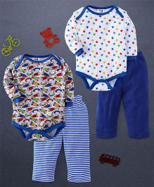 Kidi Wav Space Ship Prints And Star Prints Full Sleeves 2 Bodysuit & 2 Pyjama Sets - Royal Blue