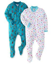 Kidi Wav Bugs And Butterfly Print Sleep Suit - Blue