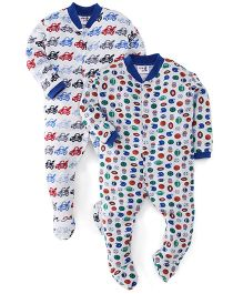 Kidi Wav Car And Ball Print Sleep Suit Pack Of 2 - White & Blue