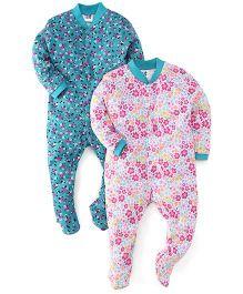 Kidi Wav Floral Prints Sleep Suit Pack Of 2 - Pink And Green