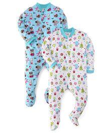 Kidi Wav Christmas Animal Sleep Suit Pack Of 2 - Bottle Green