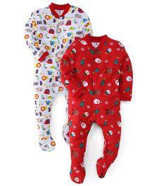 Kidi Wav Animal Prints And Foot Printed Sleep Suit Pack Of 2- Red And White