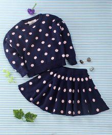 In.f Kids Dot Print Skirt & Top Set - Blue
