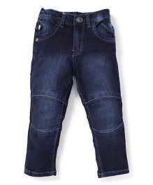 Palm Tree Raw Wash Full Length Jeans - Dark Blue