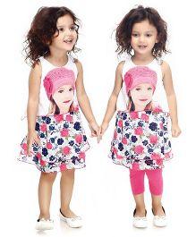 N - XT Sleeveless Printed Frock And Leggings - White & Dark Pink