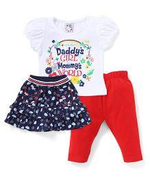 N - XT Puff Sleeves Printed Tee Skirt And Leggings - Navy White Red
