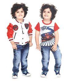 Formula 1 Theme Jacket T-Shirt And Trouser Set - Red White Blue