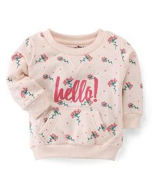 Palm Tree Full Sleeves Sweatshirt Floral Print - Cream