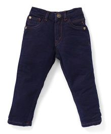 Palm Tree Rinse Wash Full Length Jeans - Navy Blue