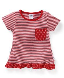 Simply Regular Neck Striped Frock - Red