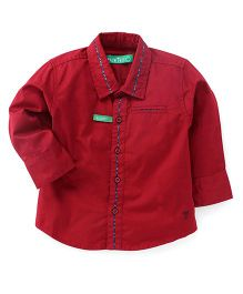 Palm Tree Full Sleeves Slim Fit Solid Color Shirt - Red