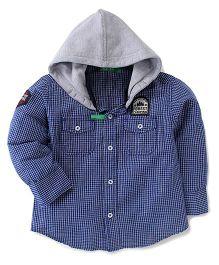 Gini & Jony Hooded Checks Shirt - Blue