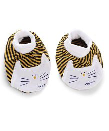 Simply Booties With Meau Print - Yellow And Black