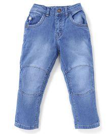Palm Tree Stone Wash Full Length Jeans - Light Blue