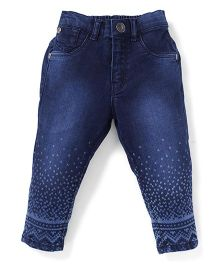 Palm Tree Rinse Wash Printed Full Length Jeans - Blue