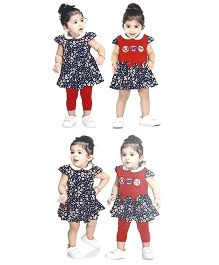 N - XT Floral Print Frock Top And Leggings Set - Navy & Red