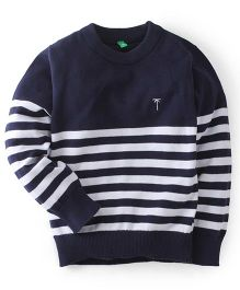 Gini & Jony Full Sleeves Striped Sweater - Navy Blue