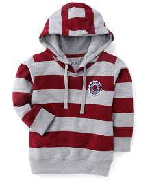 Palm Tree Hooded Striped Sweatshirt - Red & Grey