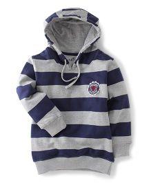 Palm Tree Full Sleeves Stripe Hooded Sweatshirt Athletic Patch - Navy Grey