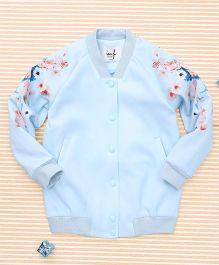 In.f Kids Flower Print Jacket - Blue