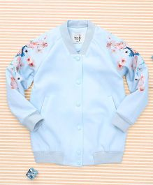 In.f Kids Flower Print Jacket - Blue