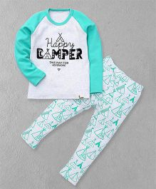 El Hogares Happy Camper Printed T-Shirt & Pant - Blue