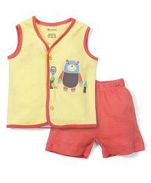 Ohms Sleeveless Night Suit Teddy Print - Orange and Yellow