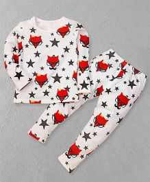 El Hogares Star Printed Tee & Pant Set - White