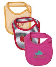 lti Ohms MuEmbroidered Bibs Pack Of 3 - Pink White Orange
