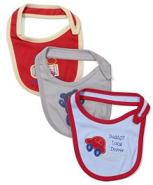 Ohms Multi Embroidered Bibs Pack Of 3 - Sky Blue Beige Red