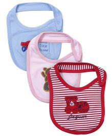 Ohms Multi Embroidered Bibs Pack Of 3 - Red Pink Sky Blue