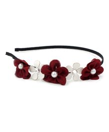Little Miss Cuttie Floral Hair Band - Red
