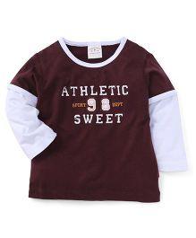 Parent Sweet Athletic Sweet Print Full Sleeves T-Shirt - Coffee Brown