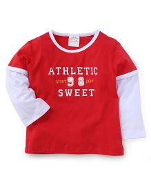 Parent Sweet Athletic Sweet Print T-Shirt - Red
