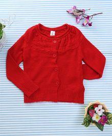Bee Born Full Sleeves Cardigan Sweater - Red