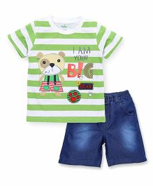 Babyhug Half Sleeves Striped T-Shirt And Denim Shorts Set - White Green Blue