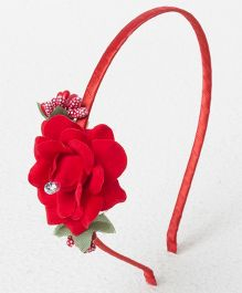 Treasure Trove Rose Applique Hairband - Red