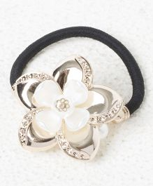Treasure Trove Double Flower Pony Tail Holder - White