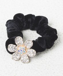 Treasure Trove Diamond Studded Flower Rubber Band - Black