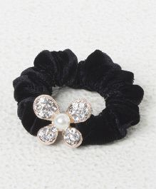 Treasure Trove Diamond & Pearl Studded Rubber Band - Black