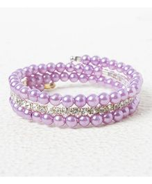 Treasure Trove Adjustable Stone And Diamond Studded Bangle - Purple